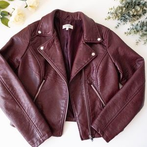 Charlotte Russe Burgundy Faux Leather Jacket